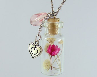 real flower necklace glass bottle necklace real flower jewellery-with gift box