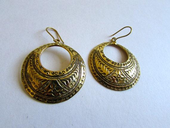 Big Circle Hanging Earrings with Tribal Patterns handmade, Brass, African Earrings , Tribal Earrings, Gift boxed,Free UK post BG10