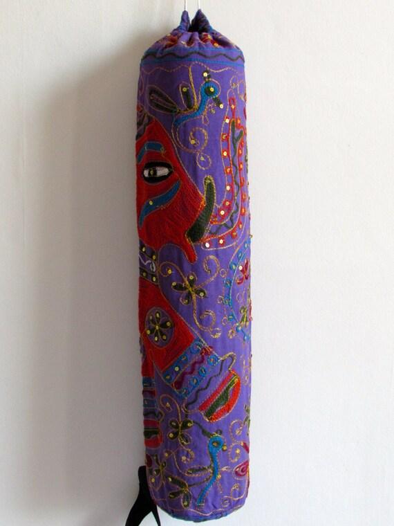 Yoga Mat Bag Pilates Mat Bag handmade Indian orange Elephant purple bag ,Sequins free UK delivery (b41) Free gift