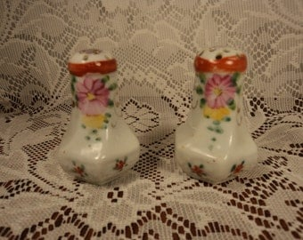 Vintage Hand Painted Pink Flower Salt and Pepper Shakers