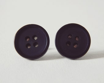 Navy Button Earrings