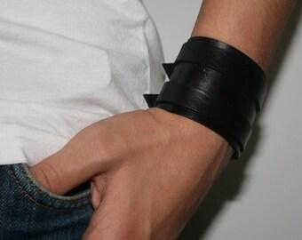 Leather bracelet genuine leather wristband first class leather cuff men's bracelet 2 straps black