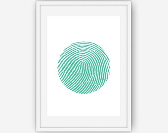 Finger Print, Circle Print, Finger Print Wall Art,Teal Print, Teal Wall Art, Wall Art, Printable, Instant Download
