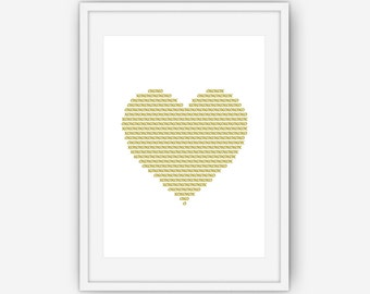 Gold XO Heart Print, XO Wall Art, Heart Print, Love Print, Minimalist Wall Art, Minimalist Art, Wall Art, Printable, Instant Download