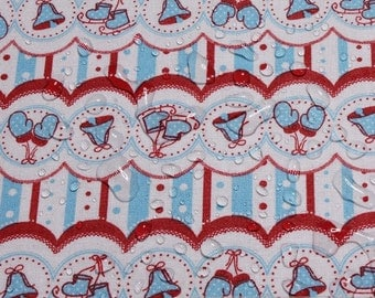 fabric cotton acryl white little bell cagoule coated table cloth chrismas