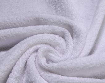 fabric pure cotton terry cloth white towelling toweling