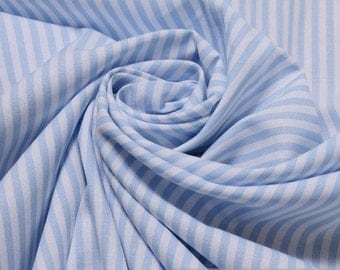 fabric pure cotton roman's stripe light blue white 2,5 mm small stripe