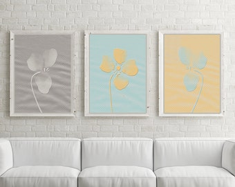 Flower Nursery Decor, Yellow Gray Nursery, Nursery Print Set of 3 8x10 personalized prints, Choose your colors! For a baby girl or baby boy