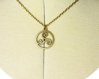 Celtic Triskelion Druid Wicca Chain Necklace Antique Bronze Colour Nature - Choose Chain Length
