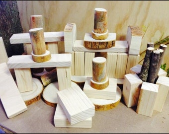 Natural Assorted Wooden Building Blocks