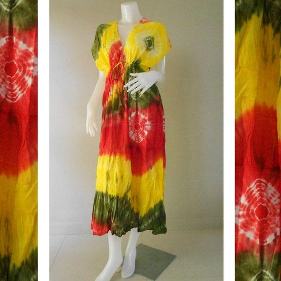 Boho Hippie Colorful Tie Dye Cotton Long Kimono Women Summer Dress S-L (TD 304)