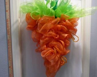 Easter Carrot Wreath, Deco Mesh Wreath, Front Door Wreath, Easter Wreath, Holiday Wreath, Spring Wreath, Bunny Wreath,