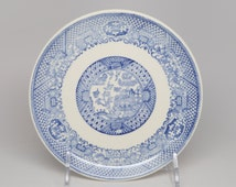 """Before the 1970's, SCIO Pottery Co, Ohio USA, Royal Blue Willow Ceramic 6"""" Bread and Butter Plate"""