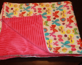 Butterfly and Pink Minky Blanket