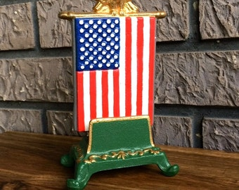 Vintage? Painted Cast Iron American Flag Card Holder or Napkin Holder Mail Catcher