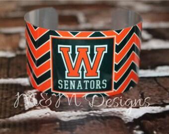 Monogrammed Bracelet, Personalized Bracelet, Customized Jewelry, Monogrammed Cuff Bracelet, Monogrammed Wrist Cuff, School Spirit