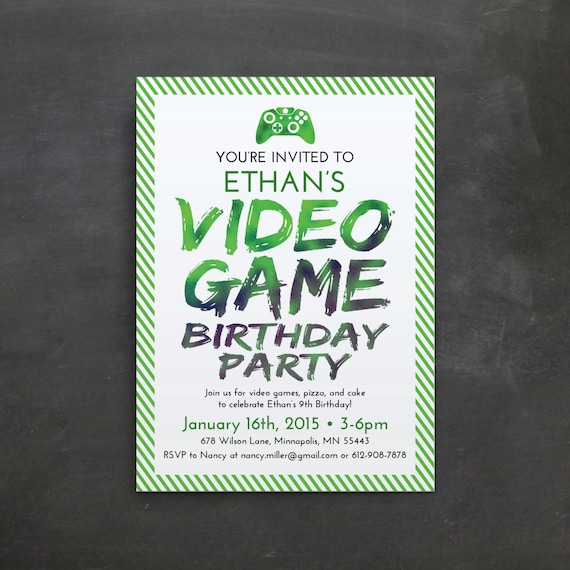 Items Similar To Video Game Birthday Invitation
