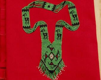 Bead Neacklace - Goat Necklace - Handmade Loom Woven  Necklace  -Green Bead Neacklace - Tribal - Sparkling Goats !