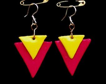 Triangle Earrings - Handmade Polymer Clay Earrings - Yellow Earrings - Pink Earrings - Mod Earrings - Pop-Art Jewellery