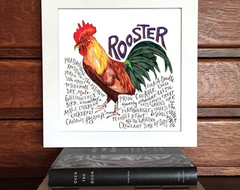 Rooster Illustration Print