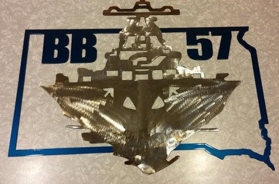 US Navy USS South Dakota Metal Art Battleship X Wall By