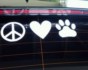 Peace Love Paws Vinyl Decal