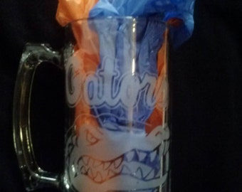 Florida Gators Sand Etched Glass Mug 26.5 oz