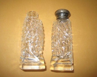 Vintage cut glass salt and pepper shakers
