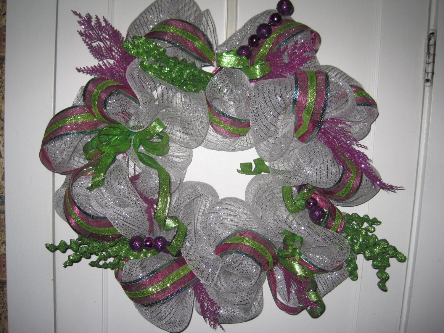 Silver theme deco mesh wreath 26""