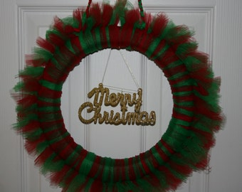 Tulle Christmas wreath in red and green with gold Merry Christmas ornament