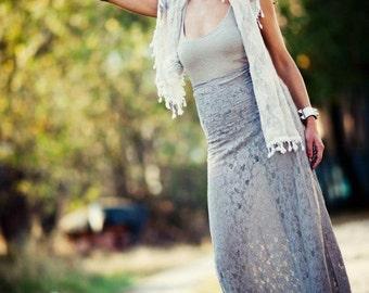 beige skirt/lace skirt/long skirt/high waist skirt/