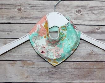 Bandana Bib~ Mint Floral~ Reversible~ Baby Gift