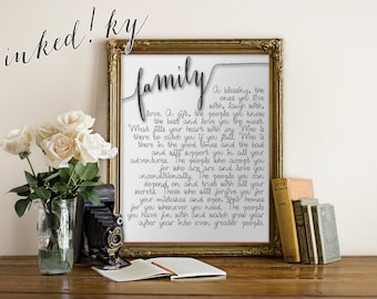 FAMILY Quote Art Printable DIY home office, wall decor inspirational instant DOWNLOAD - 8x10 and 10x13