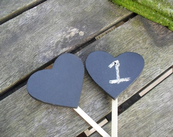 Hearts on Sticks Table Numbers Photo Props Chalkboards and Sticks Ready to Ship