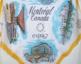 Souvenir Scarf Montreal Expo 1967 Vintage