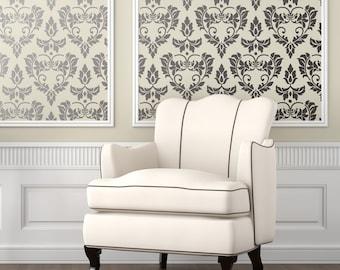 DAMASK HEARTS Wallpaper Stencil / Reusable Stencils / DIY / Home Decor /  Interiors / Feature