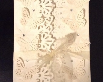 100 handmade printed wedding invitation trifold cards set with envelopes