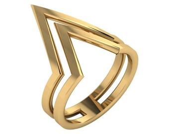 14k Gold Double V Ring   Double V 14K Gold Ring   Double Chevron 14K Gold Ring