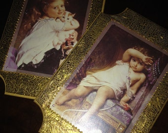 Two little girls portraits, handmade creation , great gift for the holidays