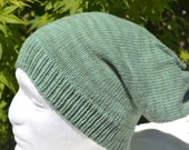 Green Merino Hand Knitted Wool Beanie Slouchy Winter Hat Womens