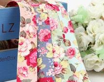 "Rose-Anne Fabric Ribbon. 4 Colors. 1""(25mm),1.5""(40mm). 100% Cotton Ribbon tape"