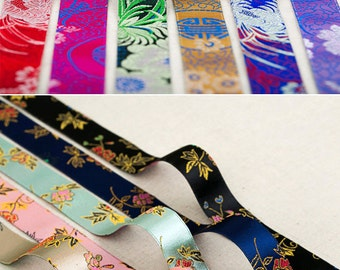 """Korean Traditional Embroidered Ribbons 12 color. 1"""" (25mm), 1.5"""" (40mm)"""