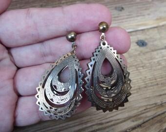 Boho Earrings - Filigree Earrings  - Brass Jewelry - Bohemian - Boho Jewelry - Gypsy Earrings - Post Earrings - Dangle Earrings