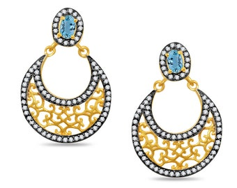Yellow Gold and Blackened Alloy Hoop Earrings with Blue Topaz Like Gemstone and Cubic Zirconia Accents