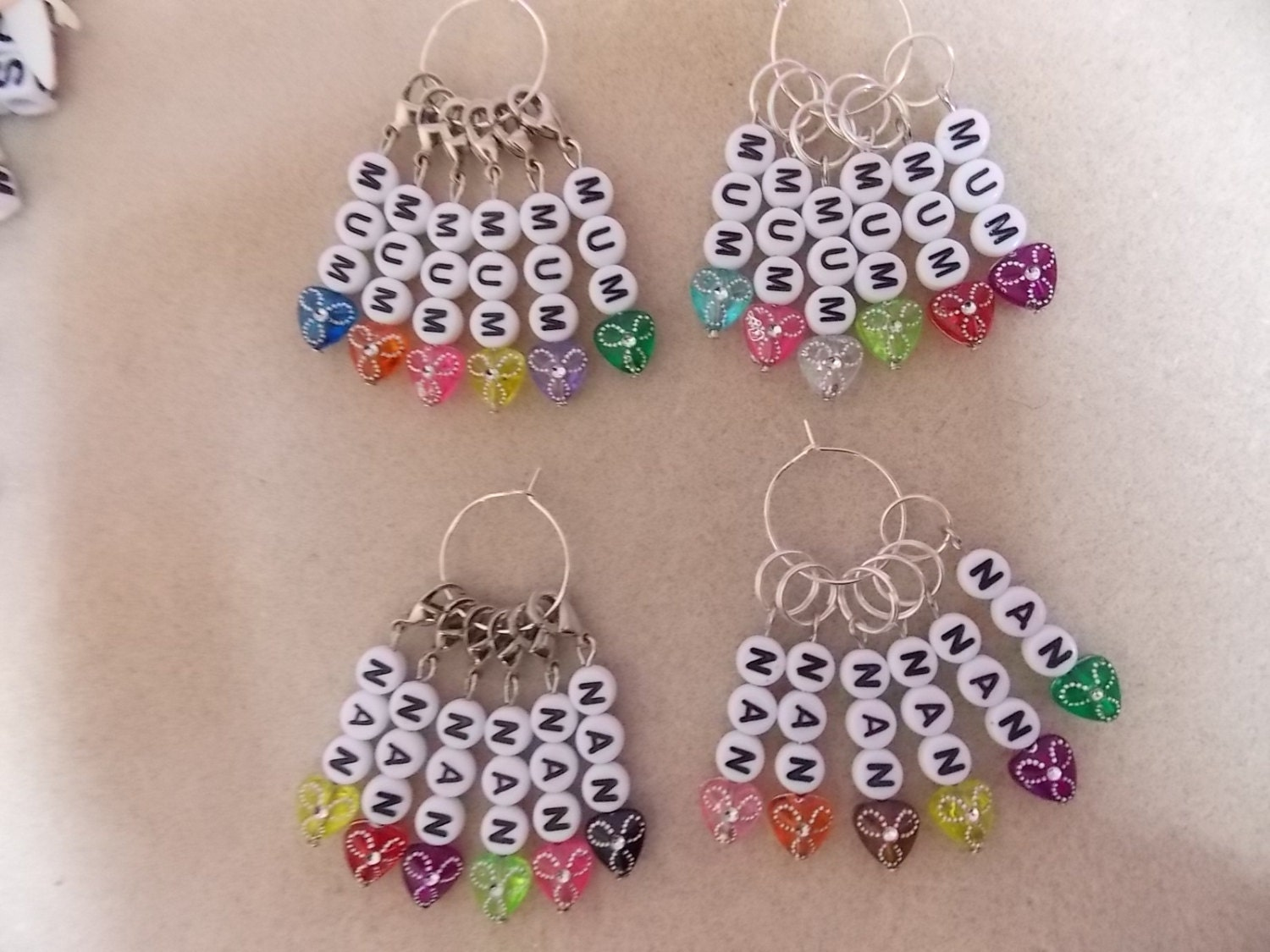 Crochet Stitch Markers : Crochet or Knitting Stitch Markers Mum or Nan Set by 3wildoranges