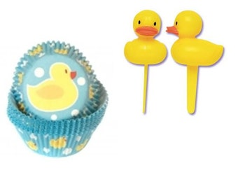 Rubber Ducky Baking Cups with Rubber Ducky Cupcake Picks