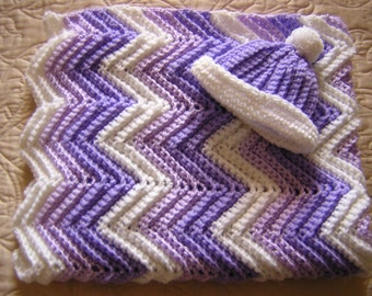 Purple and White Baby Crocheted Afghan with Matching Hat, Baby Blanket for Boy or Girl, Handmade - READY TO SHIP