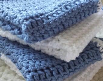 Set of 4 oversized Rustic Blue washclothes