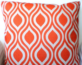 Orange Pillow Covers, Decorative Throw Pillows, Cushions Orange on Darker Natural Nicole, Euro Sham Pillows for Couch, One or More All Sizes