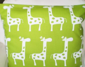 Green Giraffe Pillow Cover, Nursery Throw Pillows, Cushions, Throw Pillow, Childrens Baby Pillow, Decorative Pillow, One or More All Sizes